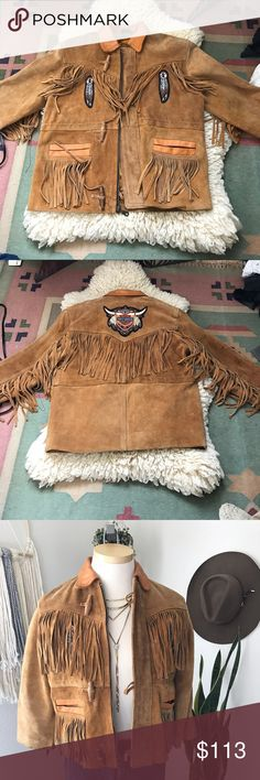 Vintage Fringed suede jacket This is an absolute favorite of mine. The vintage Harley patches came with the jacket it's in great condition tag says size M but it fits like a small cropped jacket sleeves are short . 100% suede Jackets & Coats Utility Jackets
