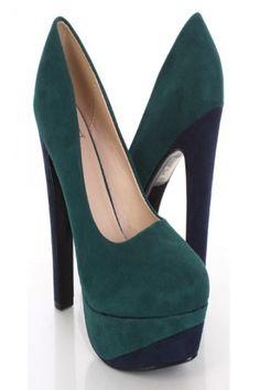 Green Combo Faux Suede Colorblock Closed Toe Platform Heels