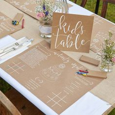 8 Kids Wedding Activity Kit, Rustic Wedding Decorations, Wedding Party Games, Kids Wedding Accessories, Wedding Tableware - The Big Day - Kids Table Wedding, Wedding With Kids, Perfect Wedding, Elegant Wedding, Kids Wedding Favors, Romantic Weddings, Rustic Wedding Tables, Table Decor Wedding, Dream Wedding