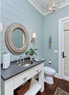 125 Stunning Farmhouse Bathroom Vanity Decor Ideas – Home Design Bathroom Vanity Decor, Beach House Bathroom, Eclectic Bathroom, Bathroom Styling, Beachy Bathroom Ideas, Bathroom Sinks, Shiplap Bathroom Wall, Ikea Bathroom, Basement Bathroom