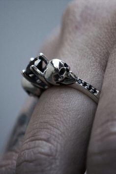 Skull Engagement Ring from NA Designs Skull Wedding Ring, Skull Engagement Ring, Wedding Engagement, Alternative Wedding Rings, Couple Rings, Ring Finger, Rings For Men, Silver Rings, Jewelry