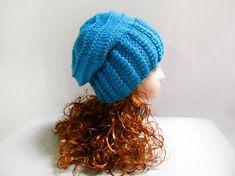 34 Knitting  pattern hand knit slouchy hat in blue by lanadearg, $5.00