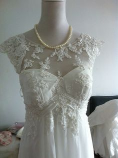 Vintage Lace Chiffon Wedding Dress Bridal Gown Lace by wonderxue, $360.00