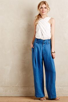 Buttoned-Up Linen Wide-Legs #anthropologie