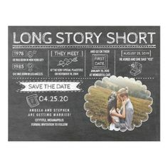 Long Story Short | Funny | Photo Save the Date Postcard - photos gifts image diy customize gift idea