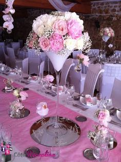 decoration table mariage avec vase martini