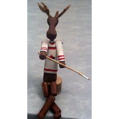 Gifts :: For Him :: Hockey Moosecot by RockingHorse Past, $35 Elm Tree, Great Gifts For Dad, Baltic Birch, Hockey, Artisan, Arms, Carving, Craftsman, Joinery