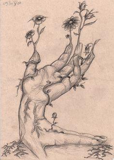 Mao surreal by aruanahansel on DeviantArt Art Drawings Sketches Simple, Pencil Art Drawings, Indie Drawings, Drawing Ideas, Dog Drawing Simple, Tree Drawings, Fairy Drawings, Dark Art Illustrations, Art Inspiration Drawing