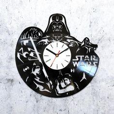 Star Wars clock,star wars vinyl clock,vinyl clock star wars,Dart Vader clock,Han Solo record clock,death star vinyl clock,4882016