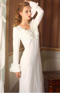 NWT Vtg Women Cotton Long Sleeve Nightgown Night Dress Gown Sleepwear Nightwear