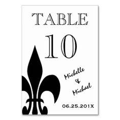 Black White Fleur de Lis Table Number Card Table Cards