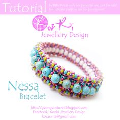 Bead tutorial-Bracelet tutorial-Nessa-Bracelet-Instruction Downloadable PDF Files by KozRiJewelleryDesign on Etsy https://www.etsy.com/listing/165969304/bead-tutorial-bracelet-tutorial-nessa
