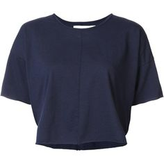 Daniel Patrick cropped T-shirt (215 BRL) ❤ liked on Polyvore featuring tops, t-shirts, blue tee, blue crop top, cropped tees, cut-out crop tops and crop t shirt