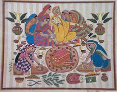 The preparation for marriage ceromony is massive in Bangladesh, it goes on for days sometimes weeks. This Nakshi Kantha displays a scene from a wedding day of a Bride. In this nakshi kantha all ladies are very busy for this ceremony and Bride is getting ready by two women. Some women are crashing turmeric and henna and also some are cutting fish.