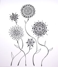 Mandela Garden . Abstract Pen Drawing Flowers . by blueskybeads, $40.00