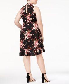 Love Squared Trendy Plus Size Printed Choker Dress - Black 3X
