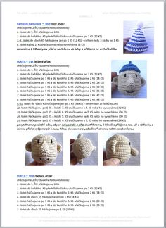 Pat a Mat | Návody na háčkované hračky Crochet Bear Patterns, Christmas Crochet Patterns, Doll Patterns, Diy Crafts Crochet, Crochet Toys, Crochet Baby, Cute Hedgehog, How To Make Toys, Kawaii