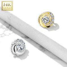 Dermal Anchor Top with CZ Paved Rose Blossom with Round CZ Center 14Kt Gold