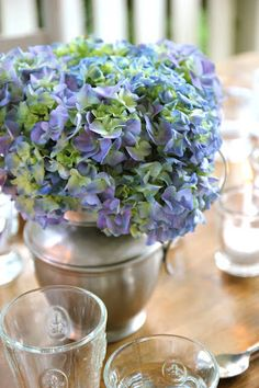 Love this Hydrangea arrangement in Silver Pitcher