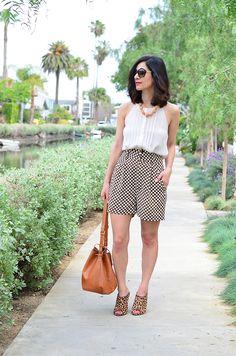 vintage silk shorts + camel bucket bag