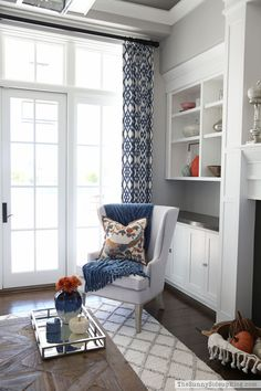coffered-ceiling-white-molding-grey-paint