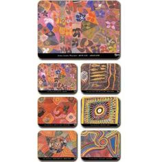 Aboriginal Design Dreaming Country Waterlilies placemats and coasters, set of 6