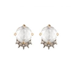 White Cabochon Spike Crystal Earring