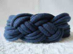 Navy Blue Sailor Knot Headband / Navy Blue Celtic Knot by EcoBands, $8.00