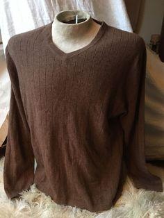 Apt. 9 100% Cashmere V-Neck Sweater XL Extra Large Brown Men's Ribbed Soft $120  | eBay