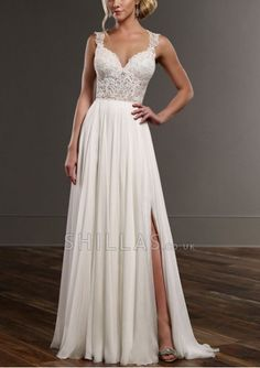 Sweetheart neckline appliques bodice Wedding dress is made from fine Parisian silk chiffon and features a subtle split skirt with a frothy train - 1640798 - Wedding Dresses
