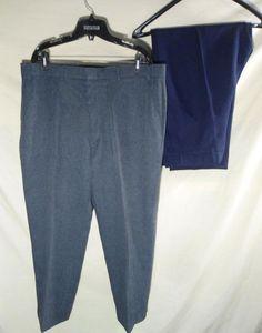 2 PAIRS Men's LEVI'S ACTION SLACKS Polyester Pants Medium Gray/Navy 40x27 NICE! #Levis #CasualPants