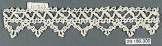 Date:      16th century  Culture:      Italian (Genoa)  Medium:      Bobbin lace  Dimensions:      L. 6 1/2 x W. 1 1/4 inches (16.5 x 3.2 cm)