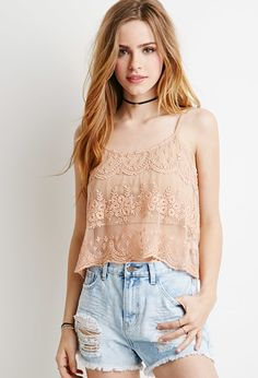 Floral-Embroidered Mesh Cami   Forever 21 - 2000115339