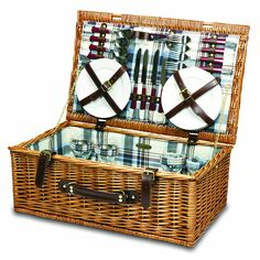 Picnic Time Newbury Willow Picnic Basket with Deluxe Service for Four   Gift Guide   For the Traveler   For Him   For Her   Affiliate