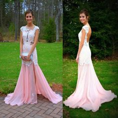 Pink Cream Long Formal Dress Glitter Prom