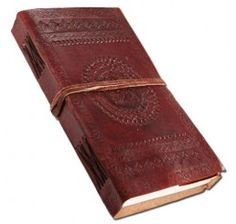 #Handmade #leather #journal or #scrap #book cum #diary with beautiful round embroidery designs on it. Completely #handmade and can be used for all personal stuffs. 100 pages of made of khadda, a material made form cotton.