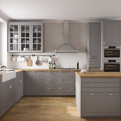 68 Premium Large Modern Eat-In Kitchen with an Island Pictures - HomeCNB Bodbyn Kitchen Grey, Grey Ikea Kitchen, Ikea Kitchen Cabinets, Grey Kitchens, New Kitchen, Home Kitchens, Kitchen Decor, Kitchen Tips, Bodbyn Grey