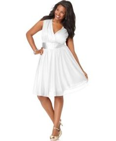cheap plus size cocktail dresses - White Trixxi Plus Size Dress Sleeveless Banded Empire A-Line.jpg
