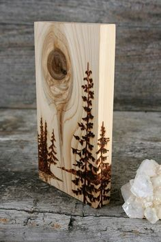The wood grain and knot in this beautiful piece of wood inspired the landscape of pine trees and distant shores. I added some trees to work with the wood to create the artwork! All made by hand with a process commonly known as wood burning. The piece meas Wood Burning Crafts, Wood Burning Patterns, Wood Burning Art, Wood Crafts, Diy And Crafts, Wood Burning Projects, Simple Crafts, Tree Crafts, Simple Art