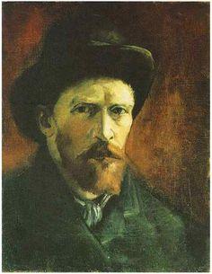 Van Gogh: Self-Portrait with dark felt hat.  Painting, Oil on Canvas.  Paris: Spring, 1886.