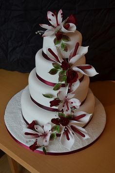 Red, Burgundy Winter Wedding Cake - a photo on Flickriver