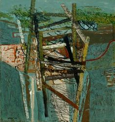 'Storm Damaaged Jetty' Peter Joyce 2010 Acrylic & Collage on Wood Panel May Arts, Assemblages, Mark Making, Mixed Media Collage, Wood Paneling, Painting Inspiration, Museums, Color Combinations, Contemporary Art