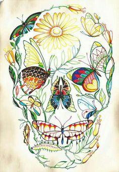 Sugar Skull Tattoo Cute and Girly Black and White Embellished Lady Skull Leg Tattoo Kitty Skull Wall Art Outline Mustache Gold on Blue Butterflies Los Muertos Tattoo, Zealand Tattoo, Tattoo Artwork, Art Tattoos, Skull Artwork, Sleeve Tattoos, Totenkopf Tattoos, Geniale Tattoos, Sugar Skull Tattoos