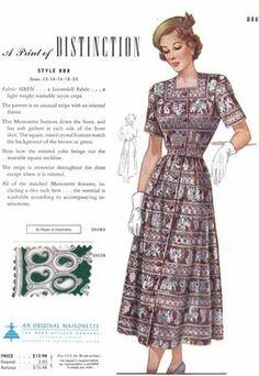 Vintage Maisonette Fabric Swatch 1940s 8x11 888