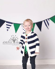 Kelly Green and Navy Blue Fabric Party Bunting by LooDeLoop