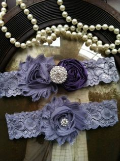Wedding Garter - Eggplant purple garter - Garters - Toss Garter - Grey Lace Garter Set - Bridal Garters - Vintage - Grey - Gray - Rhinestone