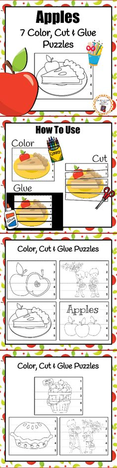 Add these fun color, cut and glue puzzles to your math or craft area during your apple unit.