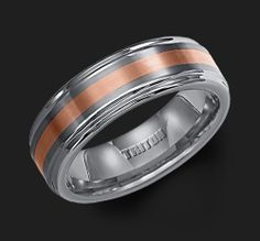 Triton mens wedding ring band style tungsten & gold #2098R7C $1131.00
