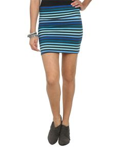 Multi Stripe Bodycon Skirt - Bottoms