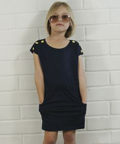 Loving this Blue & Brass Button Dress - Toddler & Girls on #zulily! #zulilyfinds